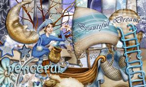 帆船梯子绵羊与树木等欧美剪贴素材