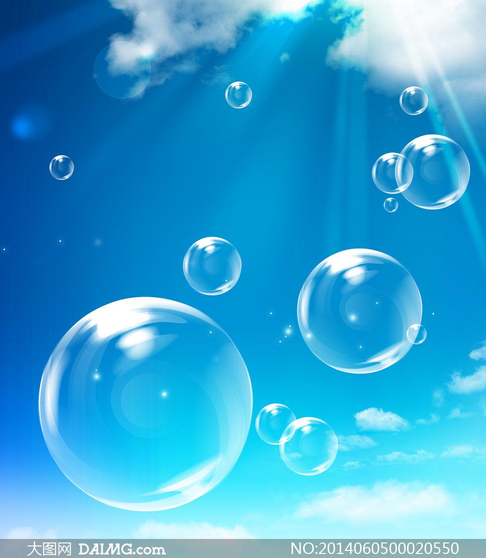 蓝天下的透明泡泡psd分层素材