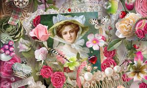 布花相框蝴蝶与缎带等欧美剪贴素材