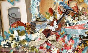 曲谱小鸟花朵与音符等欧美剪贴素材