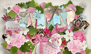 花朵边框钥匙与卡片等欧美剪贴素材