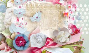 纸花裤子花朵与边框等欧美剪贴素材