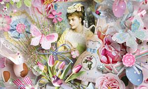 边框纽扣布花与缎带等欧美剪贴素材
