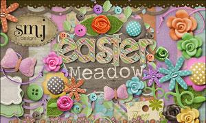 纽扣边框花朵与缎带等欧美剪贴素材