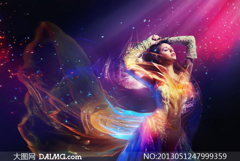 炫丽鲜艳光效美女人物摄影高清图片