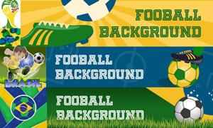 巴西世界杯标志与足球主题矢量素材