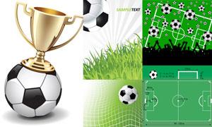 球场尺寸图与奖杯足球设计矢量素材