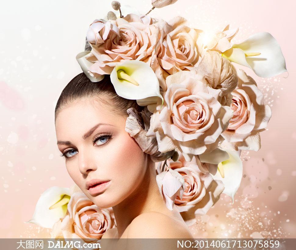 鲜花头饰妆容美女人物摄影高清图片 大图网设