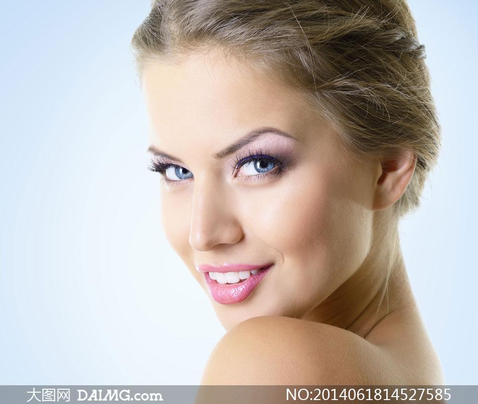 盘着头的妆容美女人物摄影高清图片 大图网设