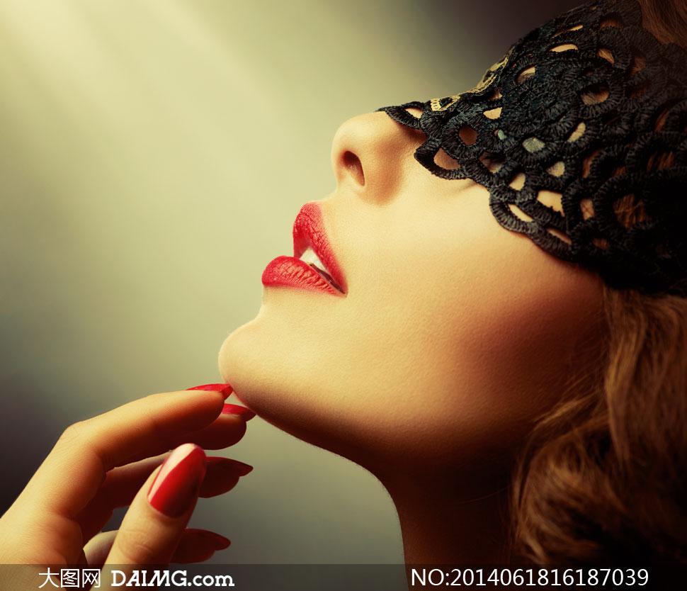 戴镂空黑色面纱的美女摄影高清图片