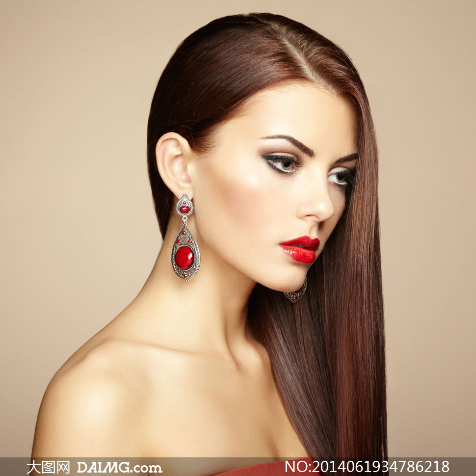 顺滑秀发美女人物侧面摄影高清图片
