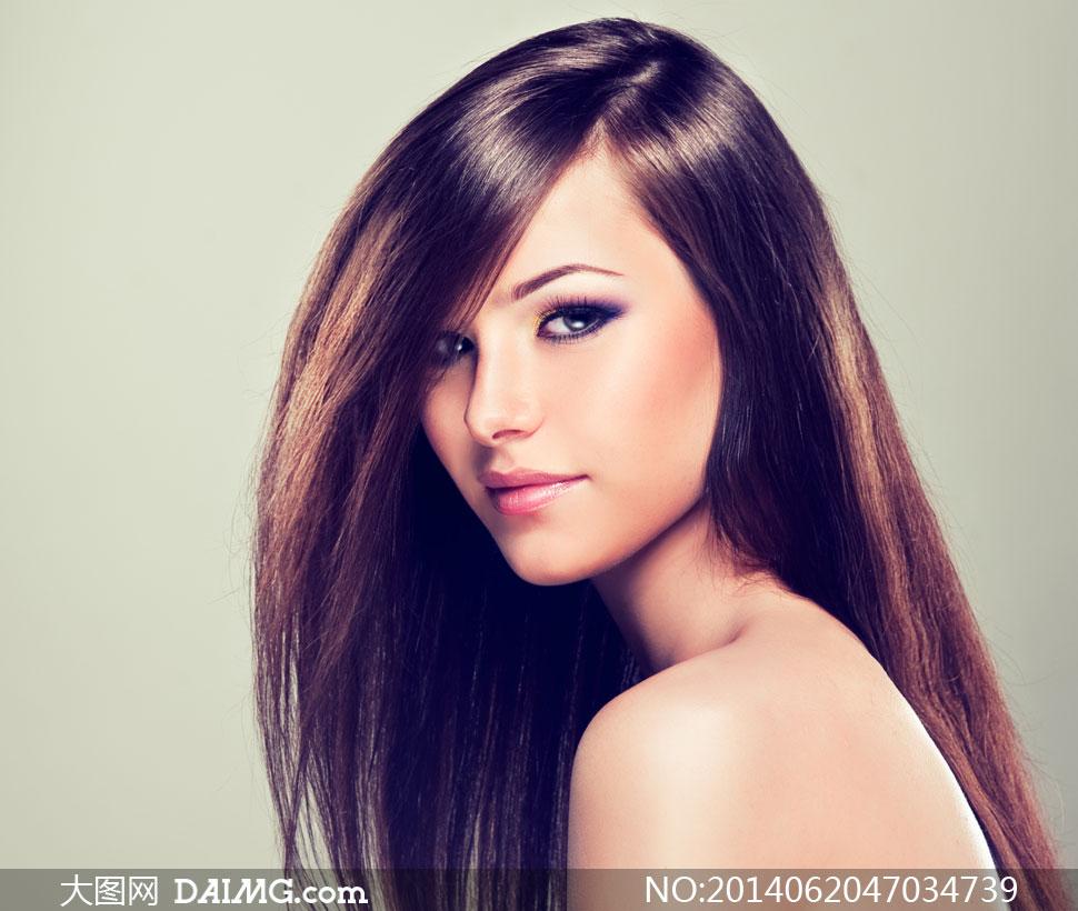 莹亮顺滑长发美女模特摄影高清图片