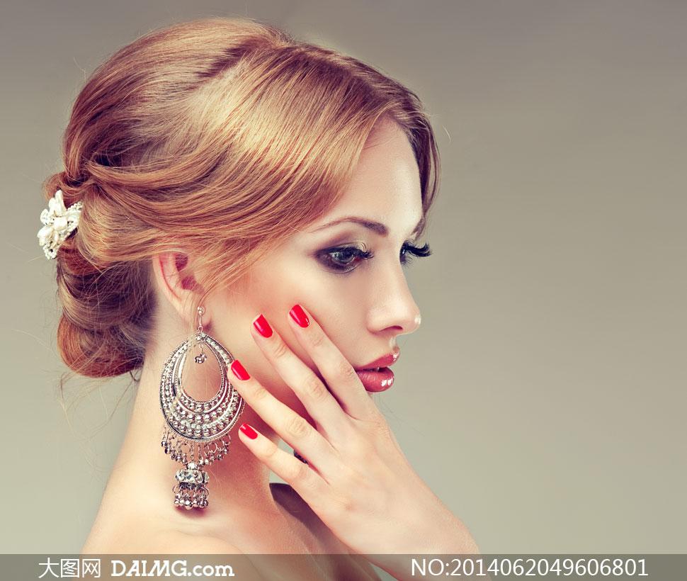 模特局部高清人体写真_浓妆盘发美女模特写真摄影高清图片