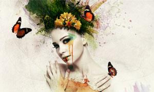 合成水彩渲染的美女头像PS教程素材