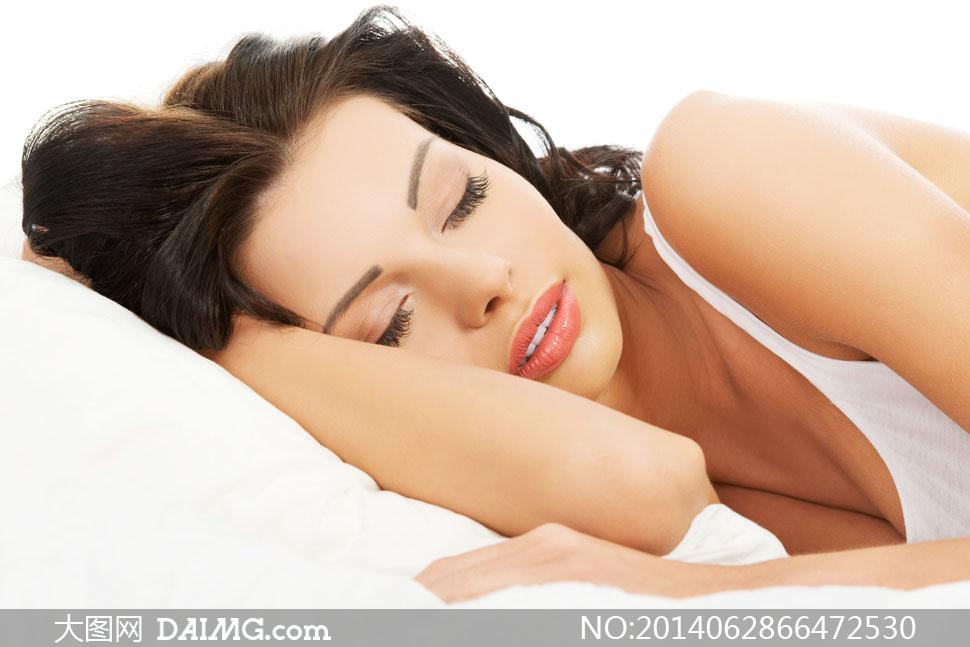 美女女性女人睡眠梦乡入梦睡觉睡着熟睡侧躺枕头黑发