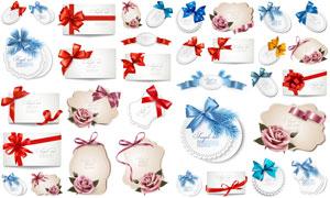 蝴蝶结卡片标签与玫瑰花等矢量素材