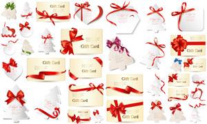 红色蝴蝶结丝带与卡片吊牌矢量素材