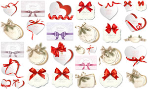 蝴蝶结丝带与卡片边框设计矢量素材