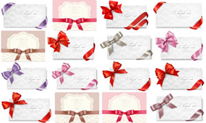 蝴蝶结丝带装饰的卡片设计矢量素材