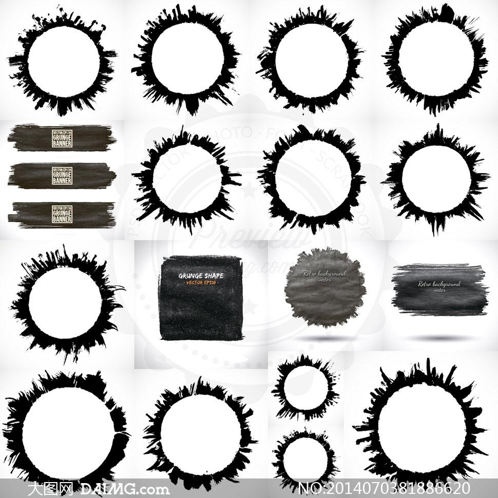 圆形水墨喷溅边框图案设计矢量素材
