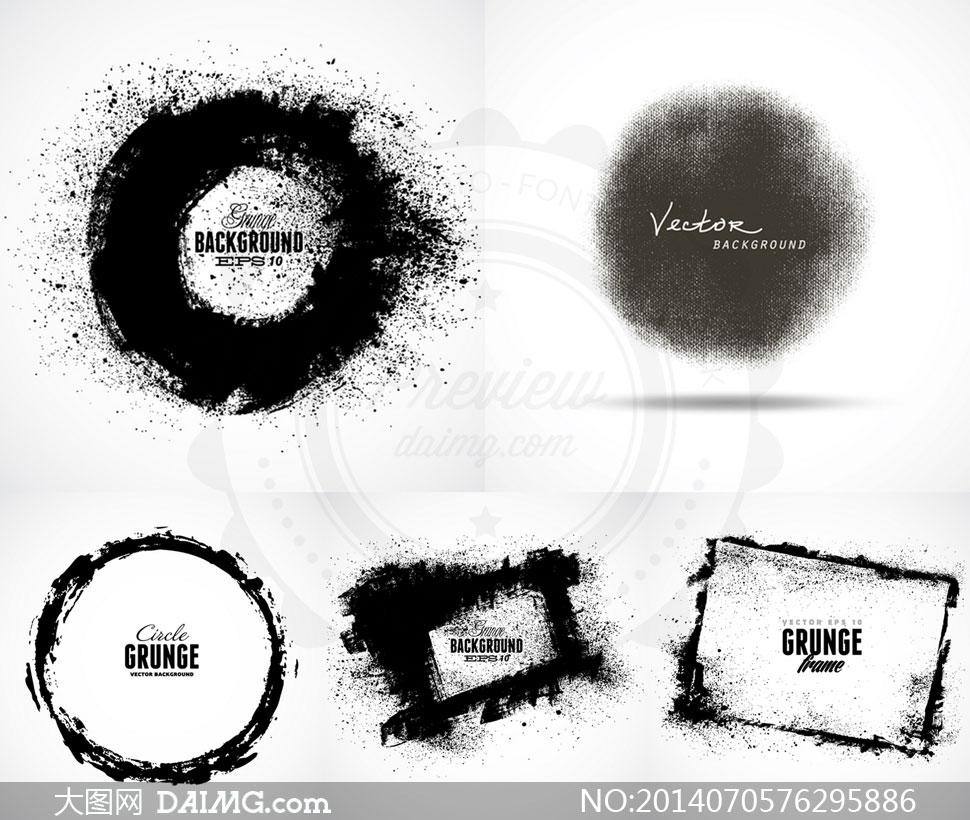 圆形与方形的墨迹主题边框矢量素材下载,压缩包已封装预览图片