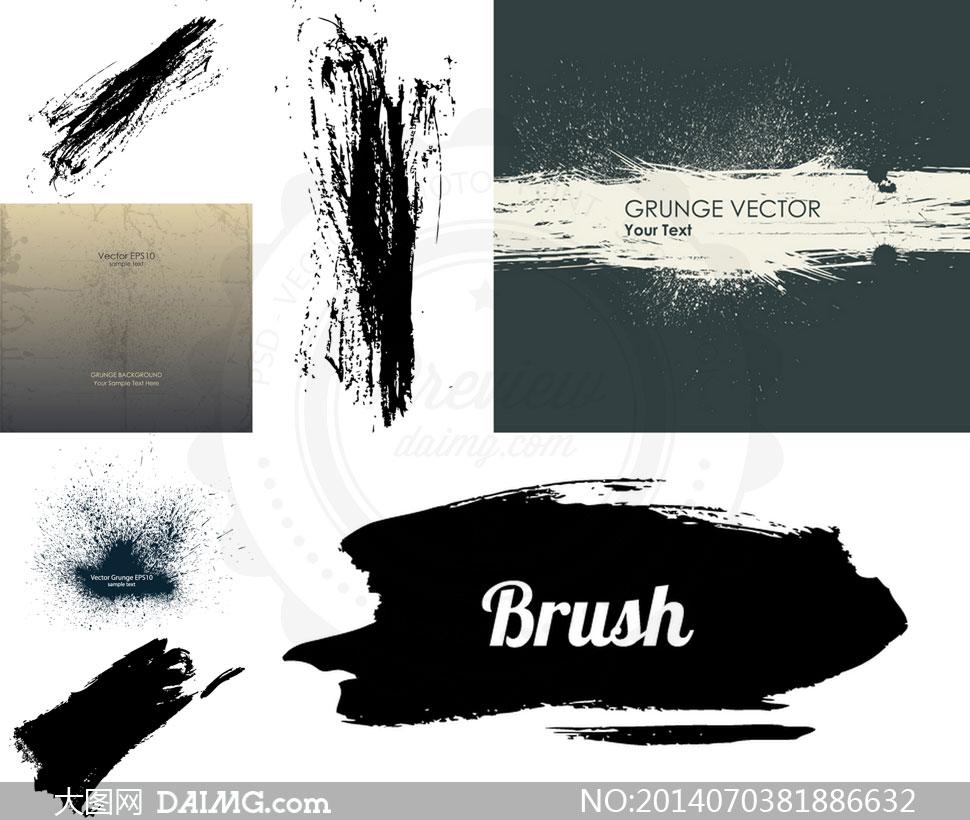 黑白墨迹涂抹效果创意设计矢量素材