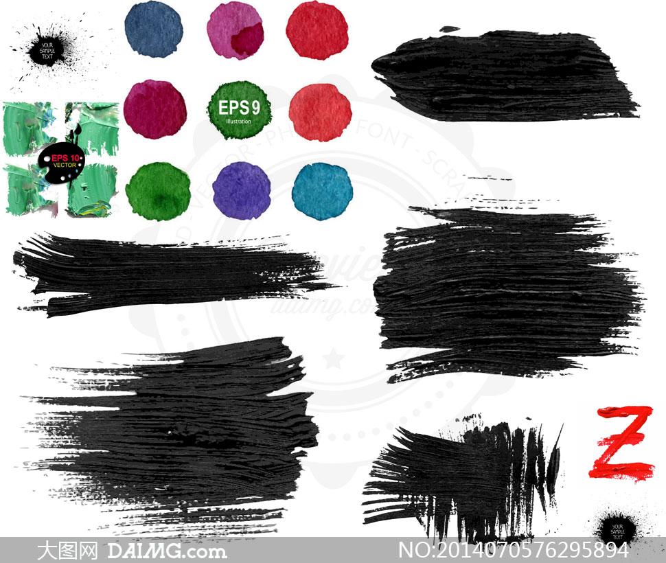 水墨墨迹效果与油彩颜料等矢量素材