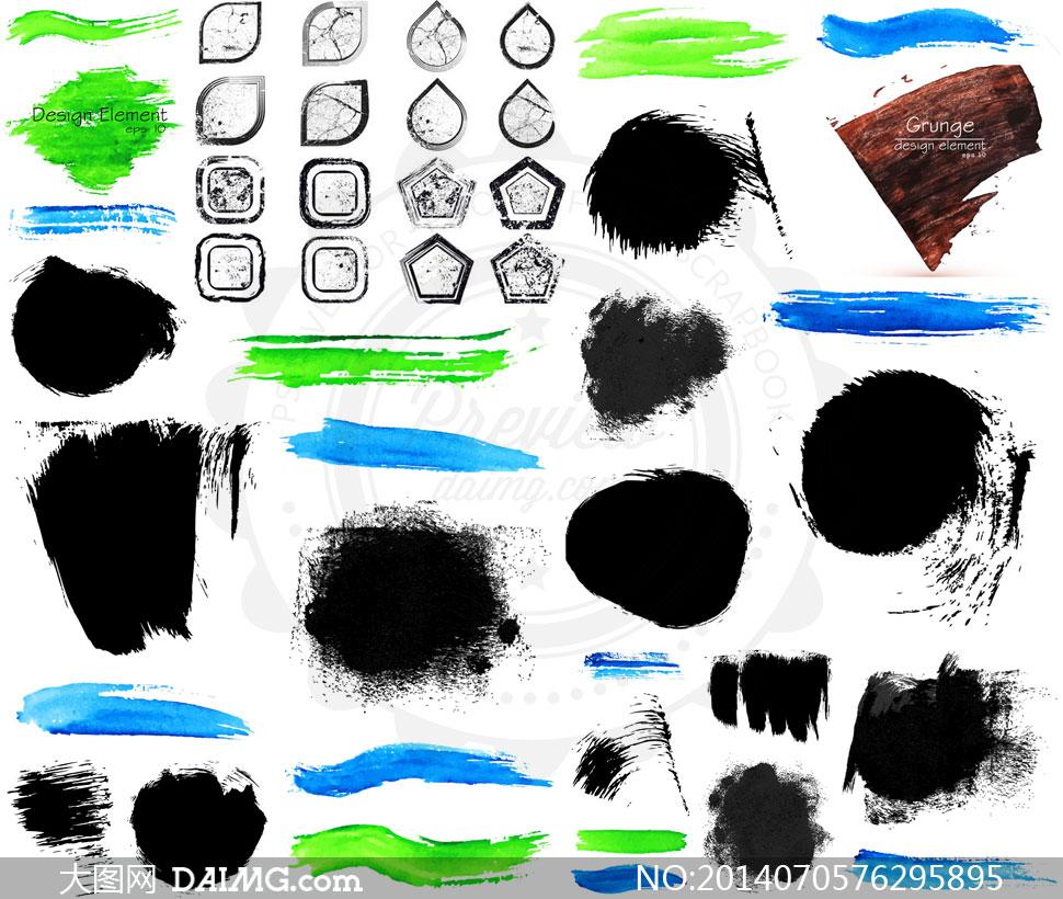 颓废墨迹边框背景设计元素矢量素材