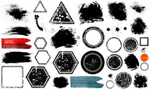 黑白水墨水彩元素几何图形矢量素材图片