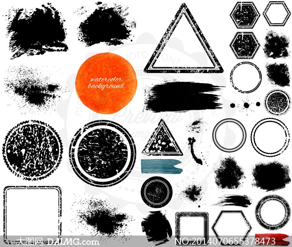 黑白水墨水彩元素几何图形矢量素材