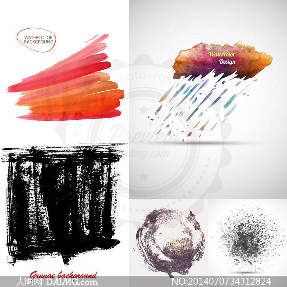 墨点喷溅与水彩元素等创意矢量素材