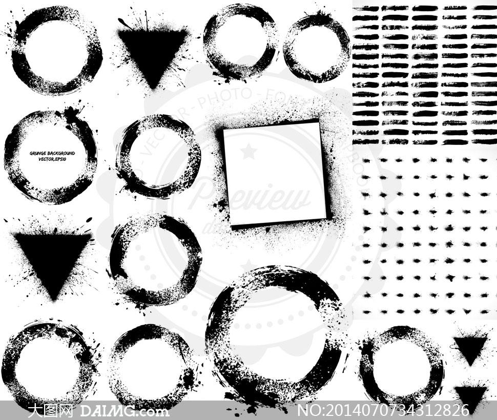 圆形三角形等墨迹主题边框矢量素材