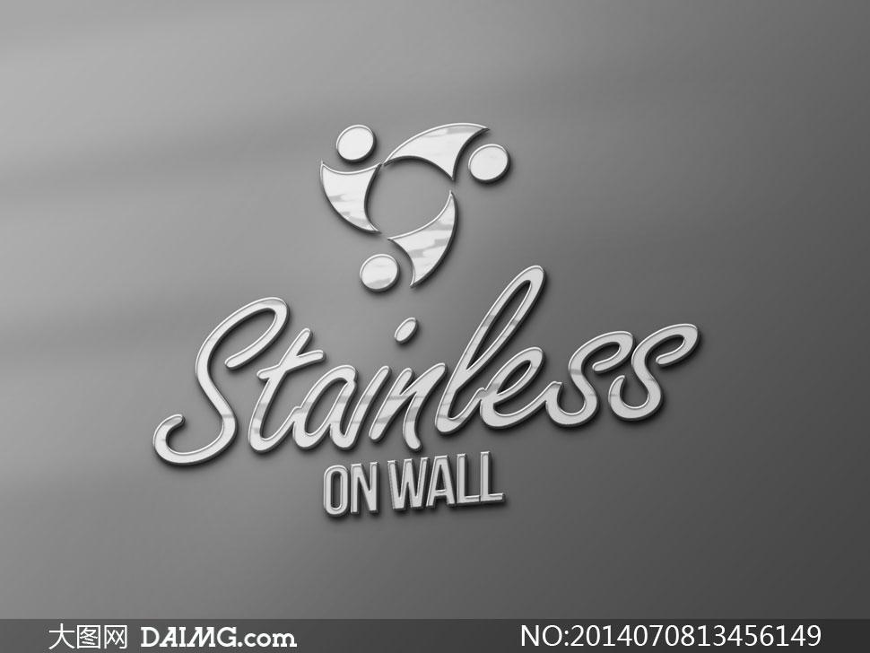 银灰色的金属质感标志效果设计模版