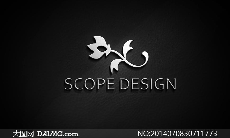 银色金属质感效果标志展示设计模版