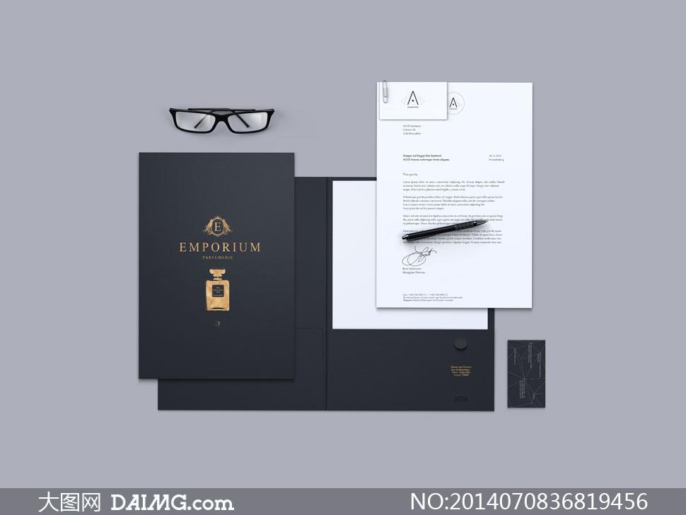 淘宝上传图片尺寸要求_文件纸张与名片顶视图效果设计模版 - 大图网素材daimg.com