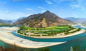万里长江第一湾全景摄影图片