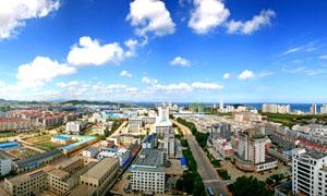 山东威海全貌摄影图片