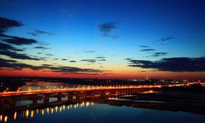 北戴河大桥美丽夜景摄影图片