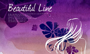 紫色水彩背景与花朵等PSD分层素材