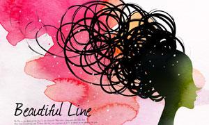 水彩墨迹与线条美女等PSD分层素材