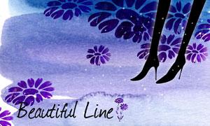 水彩墨迹图案与花朵等PSD分层素材