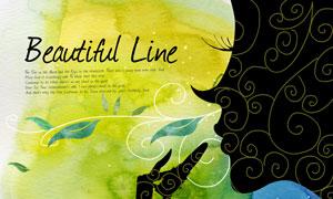 水彩图案与美女剪影等PSD分层素材