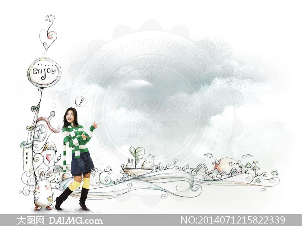 手绘可爱插画与美女等PSD分层素材 大图网设