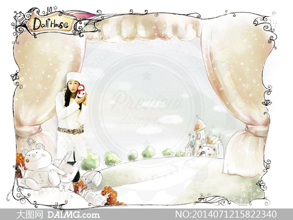 设计人物插画美女女孩手绘花纹花边边框幕帘房子房屋可爱树木大树小熊