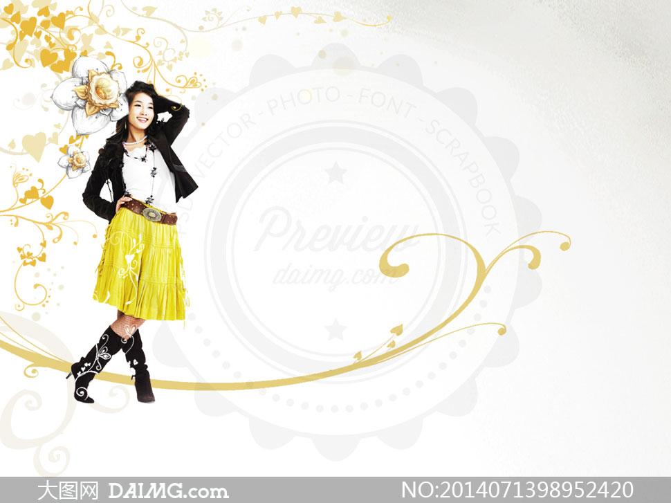 psd分层素材韩国素材krtk创意设计人物插画美女女孩手绘花纹花朵藤蔓