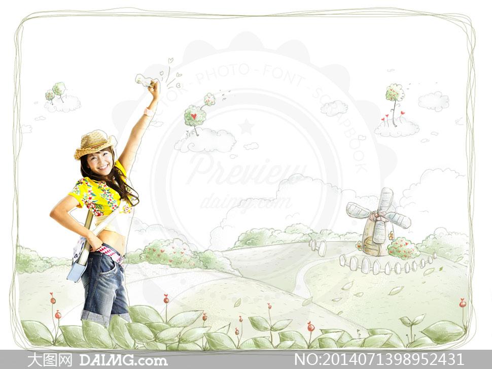 风景插画与美少女人物psd分层素材