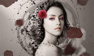 合成玫瑰纷飞的美女插画PS教程素材