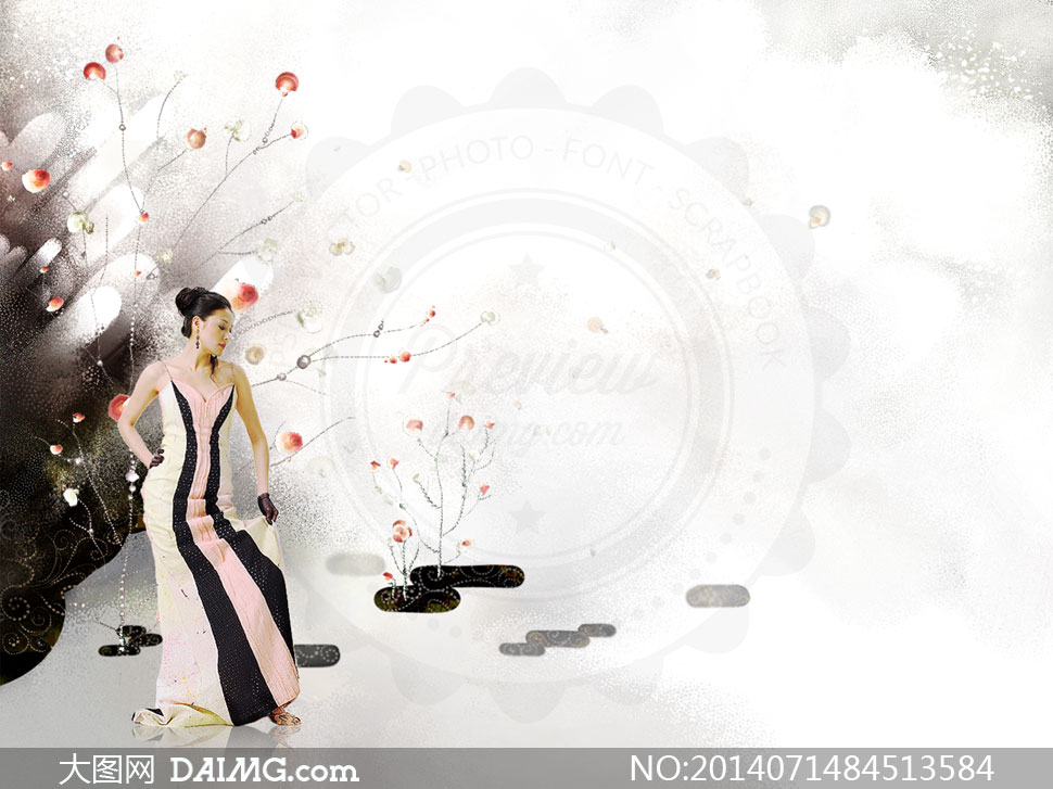 花纹图案与裙装美女等psd分层素材 素材