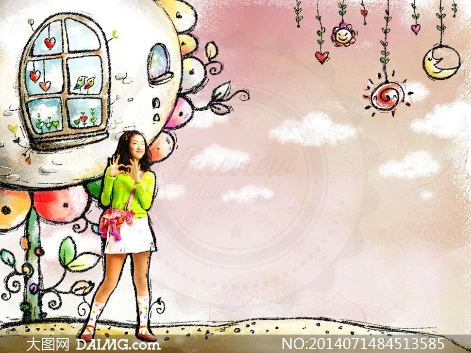 美女粉笔插画创意设计psd分层素材
