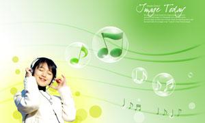 音符与在听音乐的女孩PSD分层素材